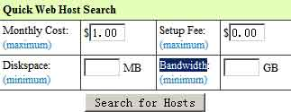 quick web hosting search